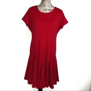 📁Calvin Klein Chic Cap Slv Red Dress Trmpt hem 14